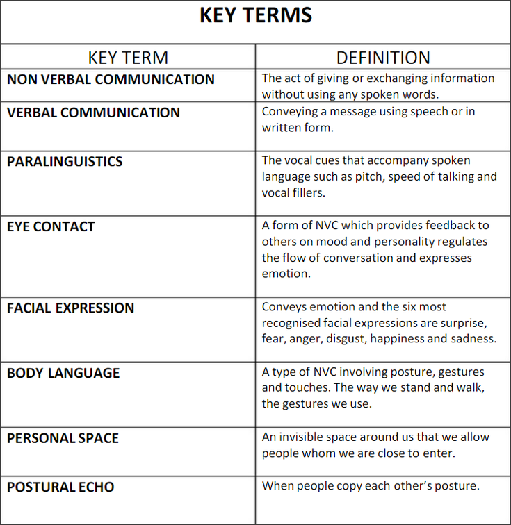 different types of verbal communication